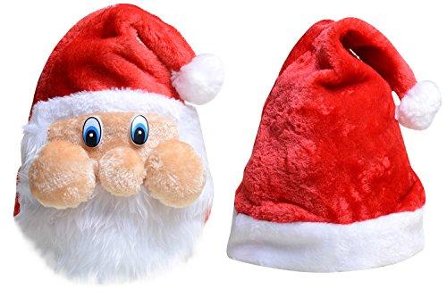 QBSM Christmas Red Velvet Santa Claus Hats Plush Christmas Cap for Adults 2 PCS (Santa Claus Cap)