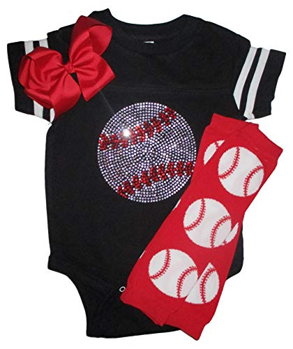 (Rhinestone Baby Girls Baseball Black Team Color Sport Outfit with red Baseball Leg Warmers 6mo)
