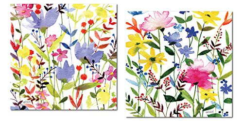Gango Home Décor Lovely Colorful Watercolor Spring Fling Meadow by Anne Tavoletti; Floral Decor; Two 12x12 Poster Prints. -