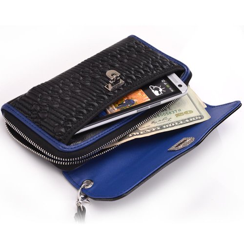 [Splash Series] BLUE & BLACK | Universal Wrist-let Clutch Women's Wallet for Samsung Galaxy Victory 4G LTE L300 Mobile Phone Case with Cash & Card Slots