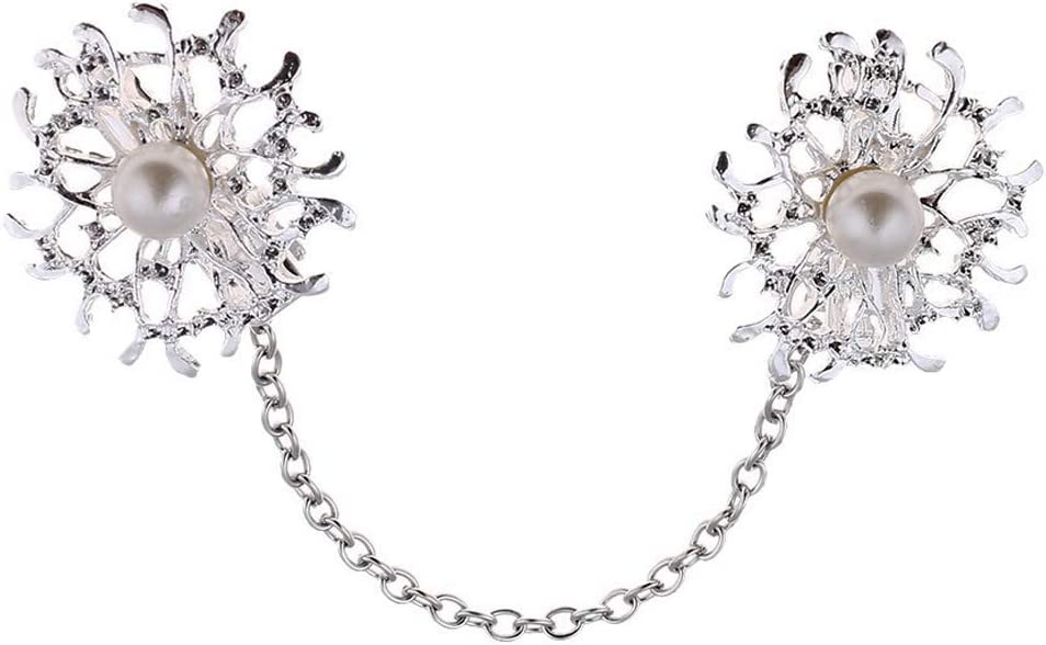 Mode Cardiganclips Perlen Blume Schalclip Hemd Kragen Clips