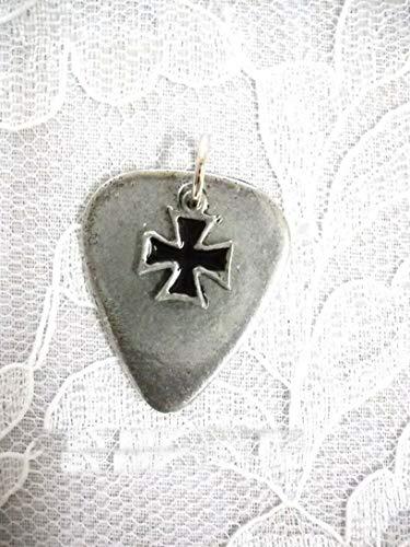 Pewter Guitar Pick Black Inlay Maltese Iron Cross Charm Pendant ADJ Necklace KEZ-1521