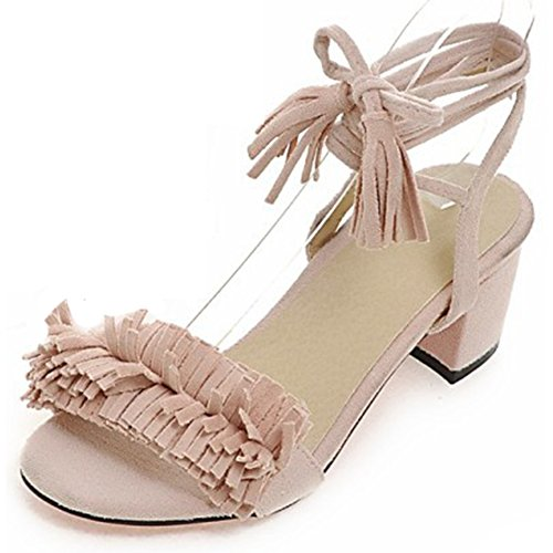 Summerwhisper Women's Bohemian Fringe Open Toe Chunky Mid Heel Strappy Lace-up Frosted Sandals Pink 6 B(M) (Roman Outfits For Womens)