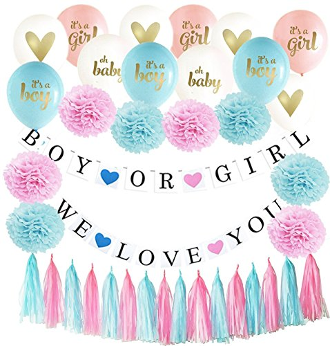 Gender Reveal Party Supplies - Gender Favors Powder Balloon - Baby Reveal Balloons - Baby Shower Decor - Party Confetti Decorations - Pink Banner - Gender Party - Baby Shower - by Foundation Company