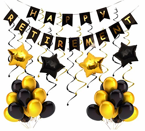 Retirement Party Decoration| Happy Retirement Decorative Banner| Happy Retirement Banner Bunting| Retirement Party Supplies Favors Gifts and Decorations (Black)