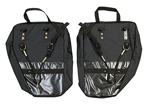 Bushwhacker® Moab Black Bicycle Rear / Front Pannier Cycling Rack Pack Bike Bag w/ Reflective Trim Sold as Pair