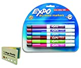 EXPO 86603 Low Odor Dry Erase Marker, Fine Point, Assorted, Pack of 12, Includes 5 Color Flag Set