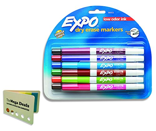EXPO 86603 Low Odor Dry Erase Marker, Fine Point, Assorted, Pack of 12, Includes 5 Color Flag Set (Ink Plum)