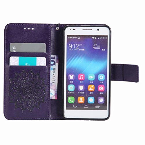 Yiizy Huawei Honor 6 Funda, Pétalos Sol Diseño Solapa Flip Billetera Carcasa Tapa Estuches Premium PU Cuero Cover Cáscara Bumper Protector Slim Piel Shell Case Stand Ranura para Tarjetas Estilo (Morad