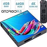 pendoo Android TV Box 4GB RAM 64GB ROM, X10 PRO Android 9.0 TV Box RK3318 Quad-Core 64Bits Dual WiFi 2.4G/5GHz Bluetooth 3D 4K Ultra HD H.265 USB 3.0 Android Box