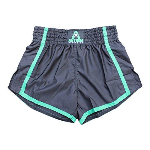 olute Muay Thai Shorts - Kickboxing, Thai Boxing - Black & Green - Medium ()
