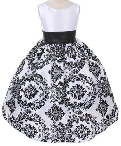 (White Satin Black Velvet Special Occasion Holiday Dress w/ Black Sash Girl)