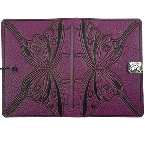 Purple Butterfly American-Made Embossed Leather Writing Journal, 6 x 9-inch + Refillable Hard Bound Insert by Modern Artisans (Image #2)
