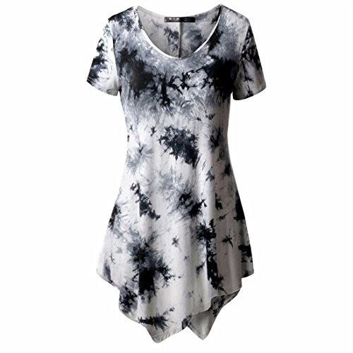 Womens Short Sleeve Tops,YKA Girl Irregular T-Shirt Shirt Blouse Pullover For Ladies(White, XXXXL) (Dress Ashley Black In)
