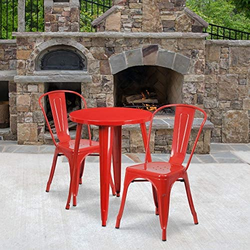Flash Furniture Commercial Grade 24″ Round Red Metal Indoor-Outdoor Table Set