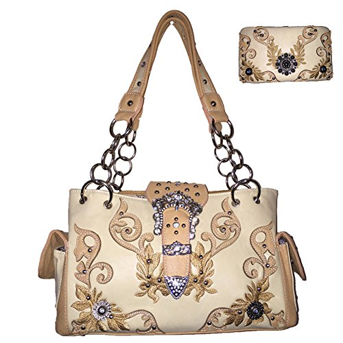 New Style Rhinestone Buckle Concho Concealed Carry Embroidered Shoulder Handbag Purse,matching Wallet Set with Texas West Collection Coin in 2 Colors (Beige) - New Western Rhinestone Concho