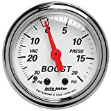 Auto Meter 1372 Arctic White Mechanical Boost / Vacuum Gauge