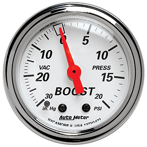 Auto Meter 1372 Arctic White Mechanical Boost/Vacuum Gauge ()