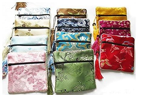 Estilo chino Brocade bordado joyería bolsas monedero con ...
