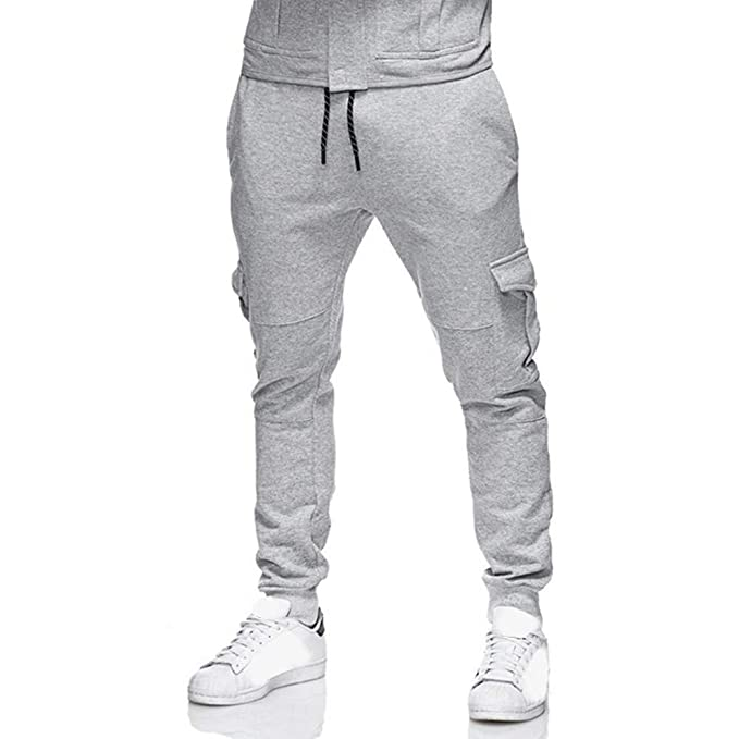 OHQ Hombre Sweatpants Slacks Casual Elastic Sport Baggy ...