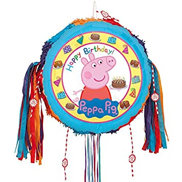 Peppa Pig Feliz cumpleaños Tire Cadena Piñata: Amazon.es ...