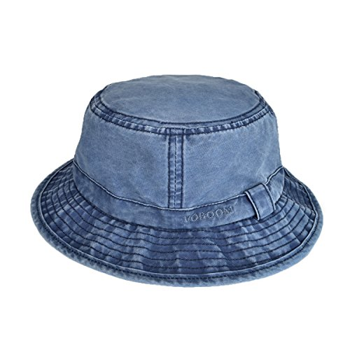 VOBOOM Bucket hat 100% Plain Weave Washed Cotton Packable Travel Retro Style (L/XL=59-60cm=7 3/8- 7 1/2, Navy (Retro Bucket Hat)