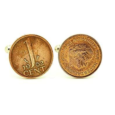 A Bijoux Manschettenknöpfe Münze Authentische Niederlande 1 Cent