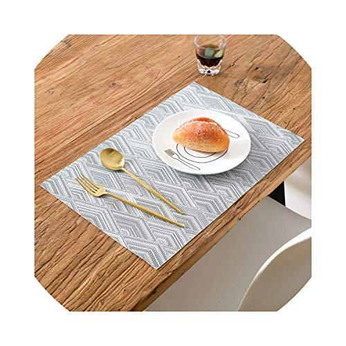 4 pcs Nordic Fashion PVC Tableware pad Waterproof Table Floor Bowl mat individuales de mesa placemat Coaster Jogo Americano,Gray,45X30cm]()
