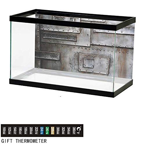 - bybyhome Fish Tank Backdrop Industrial,Grunge Old Wall Entrance,Aquarium Background,36