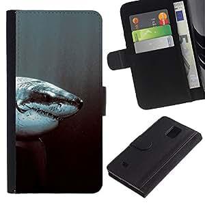 JackGot ( Tiburón blanco ) Samsung Galaxy Note 4 IV la tarjeta de Crédito Slots PU Funda de cuero Monedero caso cubierta de piel