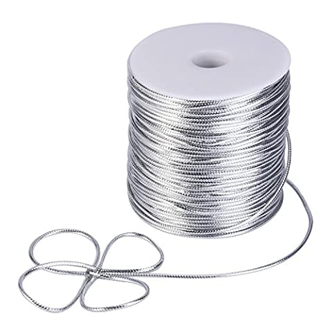 Shappy 2 mm Diameter Tinsel Non-stretch Metallic Cord Spool, 100 Yards (Silver)