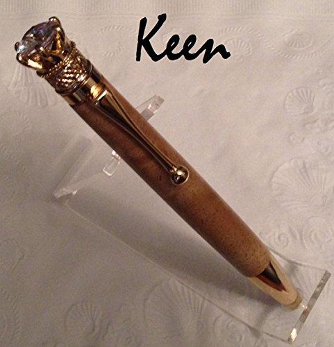 Crown Twist Pen - fp - Keen Handcrafted Handmade Curly Mango Crown Jewel 24kt Gold Twist Pen
