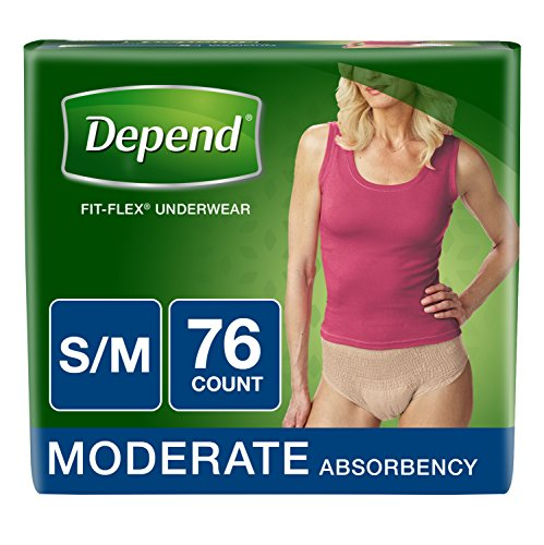 Depend FIT-FLEX Incontinence Underwear for Women, Moderate Absorbency, S/M, Tan (Packaging may vary)