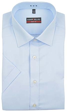 Marvelis - Camisa formal - Básico - Manga corta - para hombre azul claro 40: Amazon.es: Ropa y accesorios