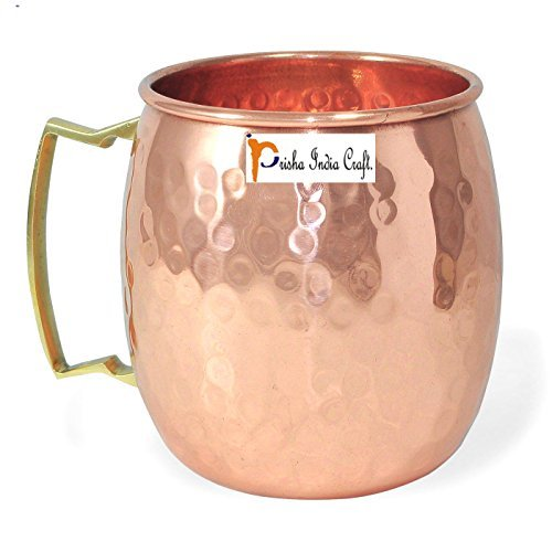 Stylla London Handcrafted Hammered Round Moscow Mule Premium Copper Mugs 16 Ounce Safe Enhances Taste Improves Flavours Enjoy Refreshing Beverages Unique Barware Gifts for Women & Men