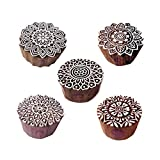 #8: Artistic Motif Round and Mandala Block Print Wood Stamps (Set of 5)