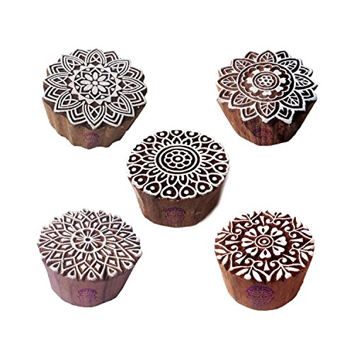 Artistic Motif Round and Mandala Block Print Wood Stamps (Set of 5) (Textile Motif)