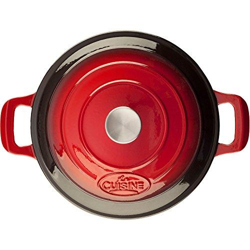 La Cuisine Saute  3.75 Qt Enameled Cast Iron Covered Dutch Oven, Red