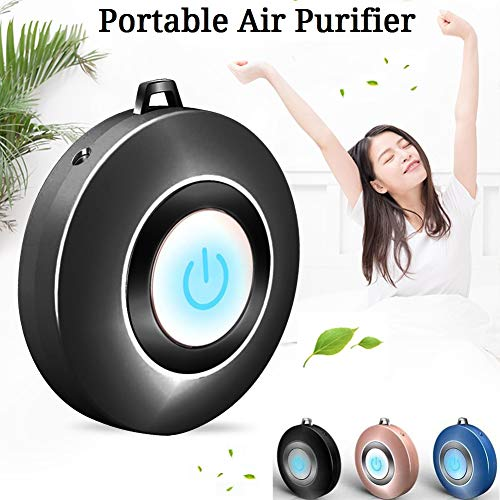 HIPIBEST Personal Air Purifier Necklace,USB Portable Air Purifier,Wearable Mini Negative Ion Air Freshener,No Radiation Low Noise for Adults Kids Black