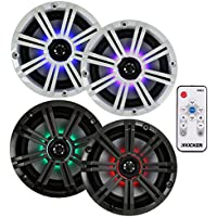 4) Kicker 41KM654LCW 6.5 390W LED Marine Coaxial Speakers KM65 + KMLC Remote