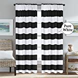 black and white bedroom H.VERSAILTEX Black and Pure White Stripes Curtain Panels Rod Pocket Thermal Insulated Blackout Window Treatment Panels Pair for Bedroom/Living Room, 52 x 84 - Inch