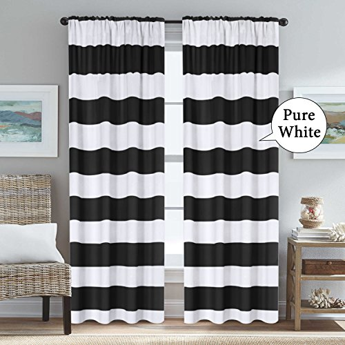 H.VERSAILTEX Black and Pure White Stripes Curtain Panels Rod Pocket Thermal Insulated Blackout Window Treatment Panels Pair for Bedroom/Living Room, 52 x 84 - Inch (Blackout Panel Curtains)