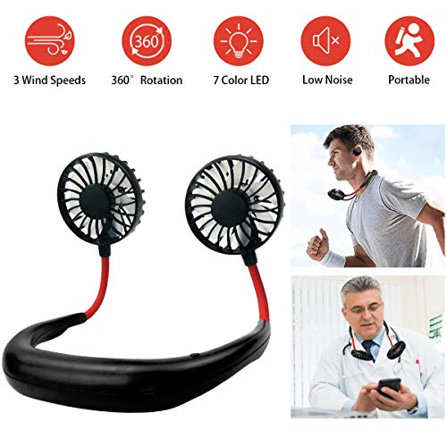 YIWEI Personal Fan Hanging Neck Fan Portable Neck Sports Fans USB Rechargeable Personal Wearable Fan Battery Operated Fan ,Premium Headphone Design Mini Neckband Fan for Travel Outdoor Office Home Sports