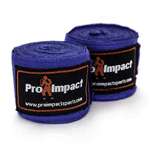 "Pro Impact Mexican Style Boxing Handwraps 180"" with Closure – Elastic Hand & Wrist Support for Muay Thai Kickboxing Training Gym Workout or MMA for Men & Women - 1 pair (Blue)"