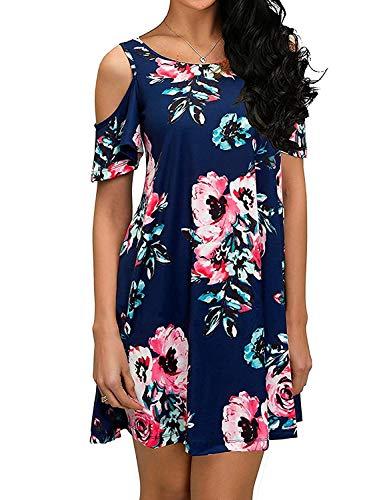 - Koscacy Open Shoulder Dresses for Women, Ladies Bohemian Dresses Juniors Summer Scoop Neck Mini Dress Wiggle Rouched Navy Flower Shirt Dress Girls Dressy Fabulous Picnic Outfit Above Knee Length L
