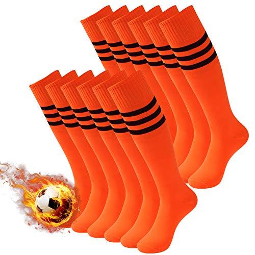 3street Knee High Soccer Socks, Womens Girls Over Knee High Tube Socks for All Sports, Soccer Socks Gift,Baseball Rugby Socks for Back to School Orange 12 ()