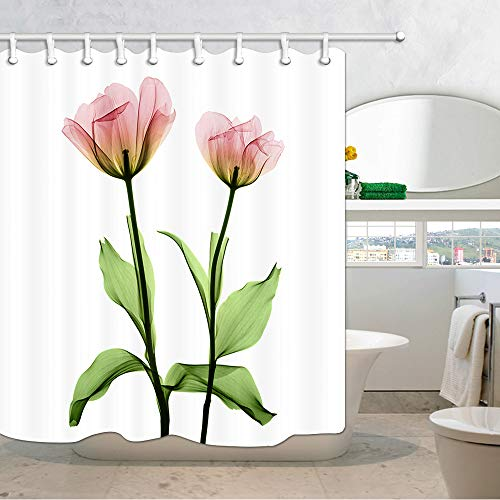 Pictures Flower Tulips (NYMB Pink Tulip Flowers Shower Curtain, Tulip Floral House Decor Shower Curtain for Bathroom, 3D Fabric Bathroom Accessories Bath Curtains 69X70 in with 12PCS Shower Hooks)
