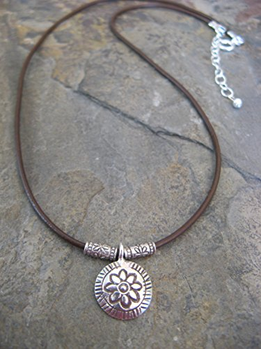 Leather Sterling Silver Necklace with Hill Tribe Flower Pendant Boho Artisan Jewelry (Hill Tribe Flower)