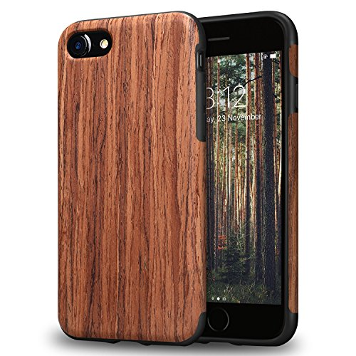 TENDLIN iPhone 8 Case / iPhone 7 Case with Wood Grain Outside Soft TPU Silicone Hybrid Slim Case for iPhone 7 and iPhone 8 (Red Sandalwood)