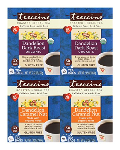 Teeccino Dandelion Root Roasted Herbal Tea, Variety Pack (Dandelion Dark Roast, Dandelion Caramel Nut), Caffeine Free, Gluten Free, Acid Free, Prebiotic, 10 Tea Bags (Pack of 4) -